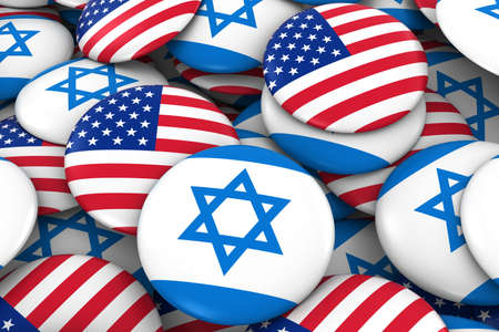 israeli flag: USA and Israel Badges Background - Pile of American and Israeli Flag Buttons 3D Illustration Stock Photo
