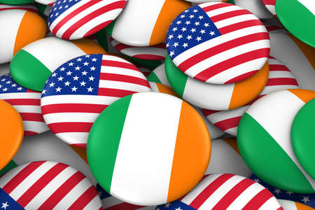 irish flag: USA and Ireland Badges Background - Pile of American and Irish Flag Buttons 3D Illustration