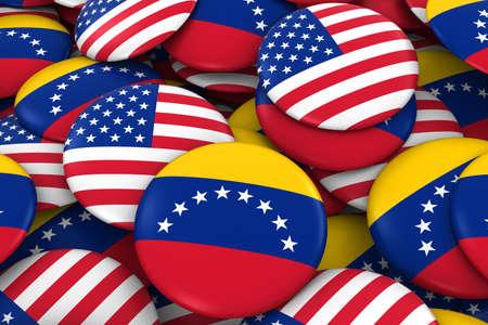 bandera de venezuela: Estados Unidos y Venezuela Placas de fondo - Pila de estadounidenses y venezolanos bandera, los botones Ilustración 3D
