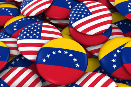 USA and Venezuela Badges Background - Pile of American and Venezuelan Flag Buttons 3D Illustration Stock Photo