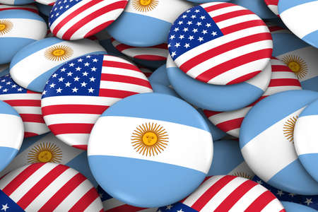 argentinian flag: USA and Argentina Badges Background - Pile of American and Argentinian Flag Buttons 3D Illustration