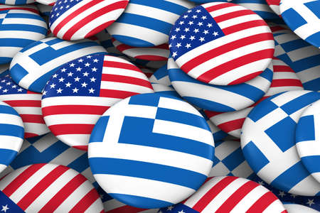greek flag: USA and Greece Badges Background - Pile of American and Greek Flag Buttons 3D Illustration Stock Photo
