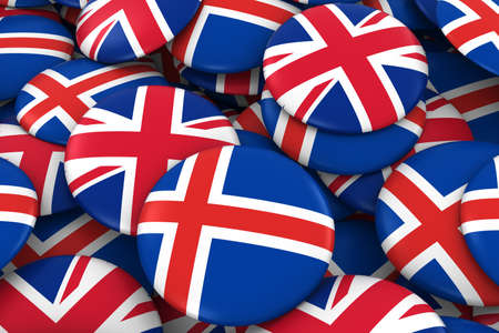 icelandic flag: Iceland and UK Badges Background - Pile of Icelandic and British Flag Buttons 3D Illustration