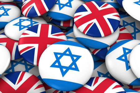 Israel and UK Badges Background - Pile of Israeli and British Flag Buttons 3D Illustration Stock Photo