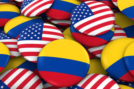 colombian flag: USA and Colombia Badges Background - Pile of American and Colombian Flag Buttons 3D Illustration Stock Photo