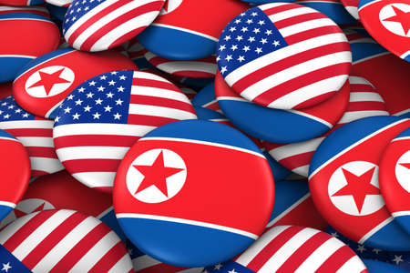 USA and North Korea Badges Background - Pile of American and North Korean Flag Buttons 3D Illustration Stock Photo