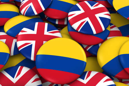 colombian: Colombia and UK Badges Background - Pile of Colombian and British Flag Buttons 3D Illustration