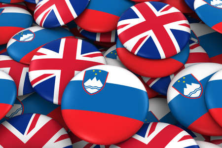 slovenian: Slovenia and UK Badges Background - Pile of Slovenian and British Flag Buttons 3D Illustration