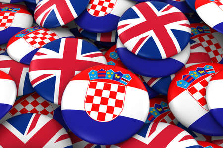 24e1cc276 Croatia and UK Badges Background - Pile of Croatian and British Flag  Buttons 3D Illustration