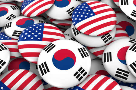korean flag: USA and South Korea Badges Background - Pile of American and South Korean Flag Buttons 3D Illustration Stock Photo