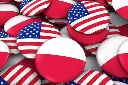 bandera de polonia: Estados Unidos y Polonia Placas de fondo - Pila de estadounidenses y polacas bandera, los botones Ilustración 3D
