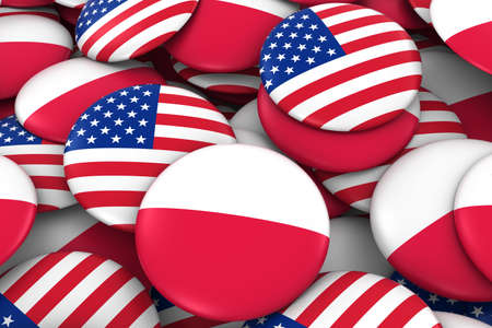 polish flag: USA and Poland Badges Background - Pile of American and Polish Flag Buttons 3D Illustration Stock Photo