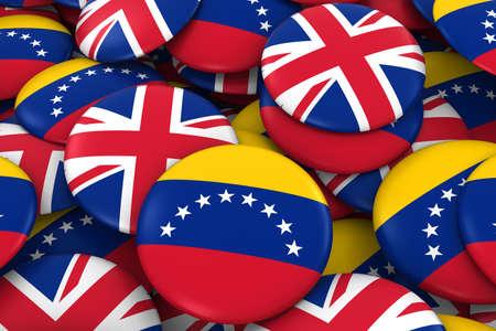 Venezuela and UK Badges Background - Pile of Venezuelan and British Flag Buttons 3D Illustration Stock Photo