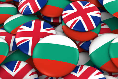 Bulgaria and UK Badges Background - Pile of Bulgarian and British Flag Buttons 3D Illustration Stock Photo
