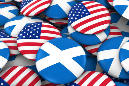 scottish flag: USA and Scotland Badges Background - Pile of American and Scottish Flag Buttons 3D Illustration
