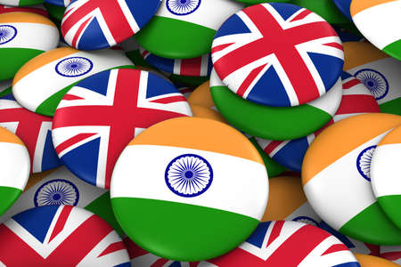 India and UK Badges Background - Pile of Indian and British Flag Buttons 3D Illustration 版權商用圖片