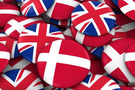 danish flag: Denmark and UK Badges Background - Pile of Danish and British Flag Buttons 3D Illustration Stock Photo
