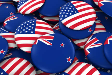 new zealand flag: USA and New Zealand Badges Background - Pile of American and New Zealand Flag Buttons 3D Illustration