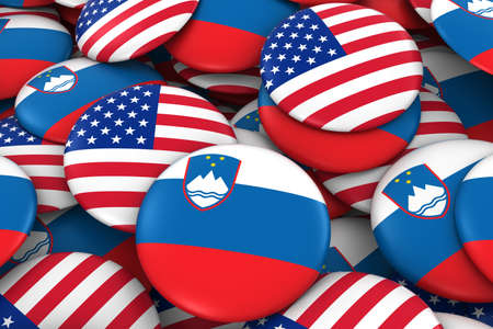 USA and Slovenia Badges Background - Pile of American and Slovenian Flag Buttons 3D Illustration Stock Photo