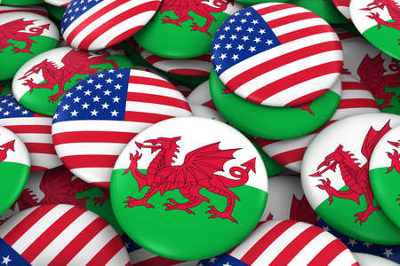welsh flag: USA and Wales Badges Background - Pile of American and Welsh Flag Buttons 3D Illustration
