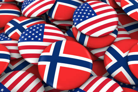 norwegian flag: USA and Norway Badges Background - Pile of American and Norwegian Flag Buttons 3D Illustration