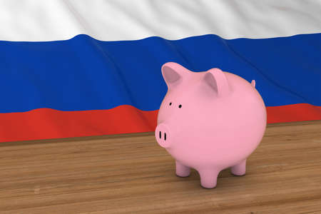 russian flag: Russia Finance Concept - Piggybank in front of Russian Flag 3D Illustration