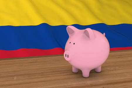 piggybank: Colombia Finance Concept - Piggybank in front of Colombian Flag 3D Illustration