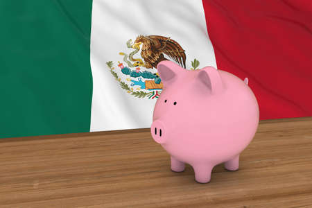 drapeau mexicain: Mexique Finance Concept - Tirelire en face de drapeau mexicain Illustration 3D Banque d'images