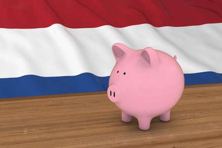 Netherlands Finance Concept - Piggybank in front of Dutch Flag 3D Illustration Stock Photo
