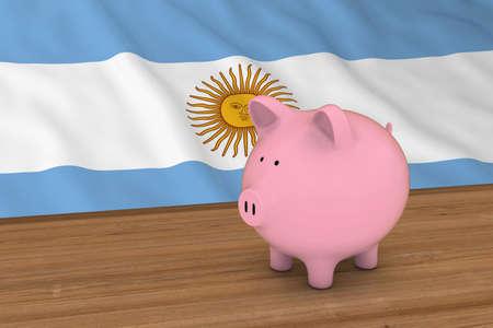 piggybank: Argentina Finance Concept - Piggybank in front of Argentinian Flag 3D Illustration
