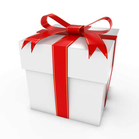 christmas present: Christmas Present - Gift Box with Gold and Red Ribbon 3D Illustration Stock Photo