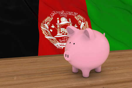 afghan: Afghanistan Finance Concept - Piggybank in front of Afghan Flag 3D Illustration