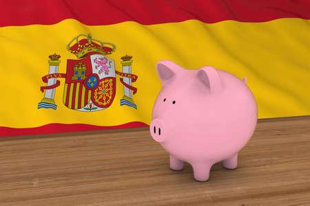 piggybank: Spain Finance Concept - Piggybank in front of Spanish Flag 3D Illustration