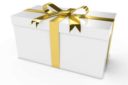 White Gift Box Present with Gold Shiny Ribbon 3D Illustration Stock Photo