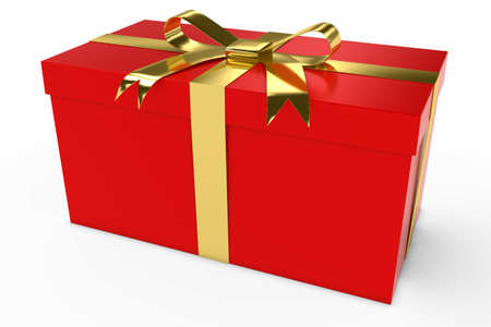 christmas present: Red and Gold Christmas Present Gift Box 3D Illustration