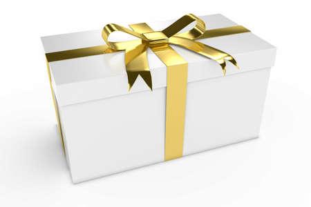 christmas gift box: White Gift Box Present with Gold Shiny Ribbon 3D Illustration Stock Photo