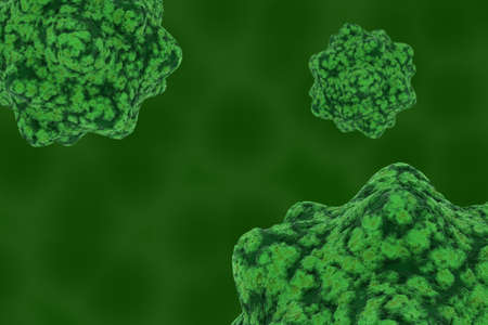 spores: Virus Spores on Green Cellular Background - 3D Illustration Stock Photo