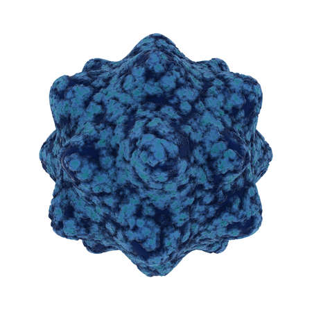 spore: Cold Blue Virus Spore Isolated on Black Background - 3D Illustration