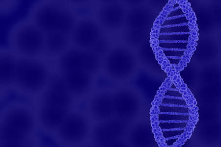 dna double helix: DNA Double Helix on Blue Cellular Background with Copy Space 3D Illustration