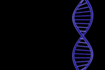 dna double helix: Blue DNA Double Helix Isolated on Black Background with Copy Space 3D Illustration Stock Photo