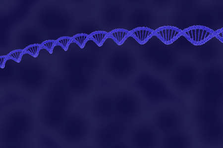 dna double helix: DNA Double Helix Strand on Blue Cellular Background - 3D Illustration