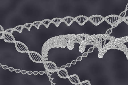 dna double helix: DNA Double Helix Strands on Cellular Background - 3D Illustration