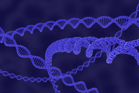 dna double helix: DNA Double Helix Strands on Blue Cellular Background - 3D Illustration