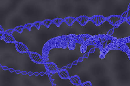 dna double helix: DNA Double Helix Strands on Grey Cellular Background - 3D Illustration