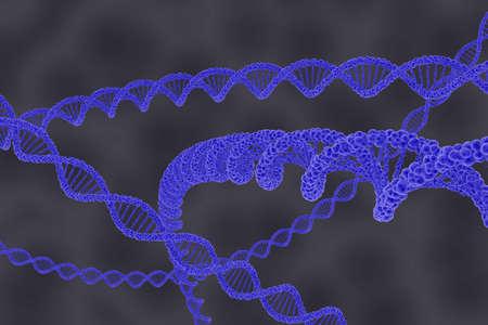 cellular: DNA Double Helix Strands on Grey Cellular Background - 3D Illustration