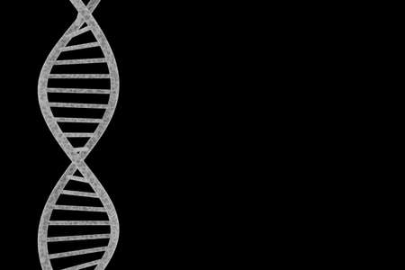 dna double helix: DNA Double Helix Isolated on Black Background with Copy Space 3D Illustration Stock Photo