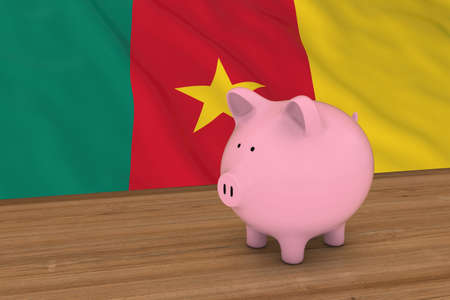 cameroonian: Cameroon Finance Concept - Piggybank in front of Cameroonian Flag 3D Illustration Stock Photo