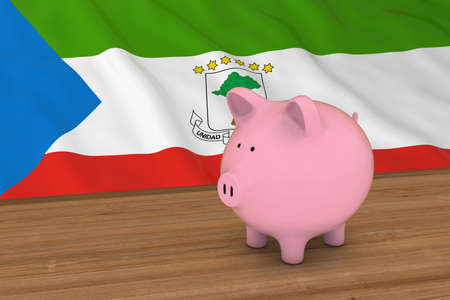 equatorial guinea: Equatorial Guinea Finance Concept - Piggybank in front of Equatorial Guinean Flag 3D Illustration
