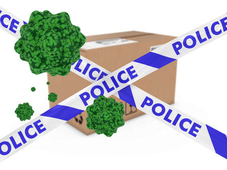 Virus Infected Package behind Police Tape 3D Illustration