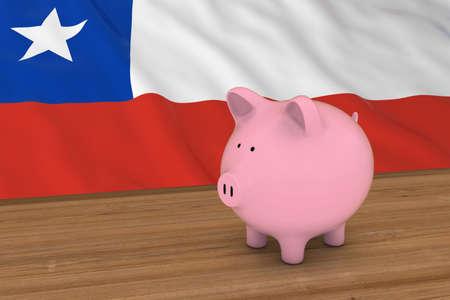 bandera chilena: Chile Concepto Finanzas - alcancía en frente de la ilustración de la bandera chilena en 3D